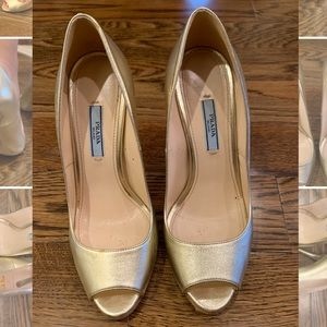 Soft Gold Prada Pumps